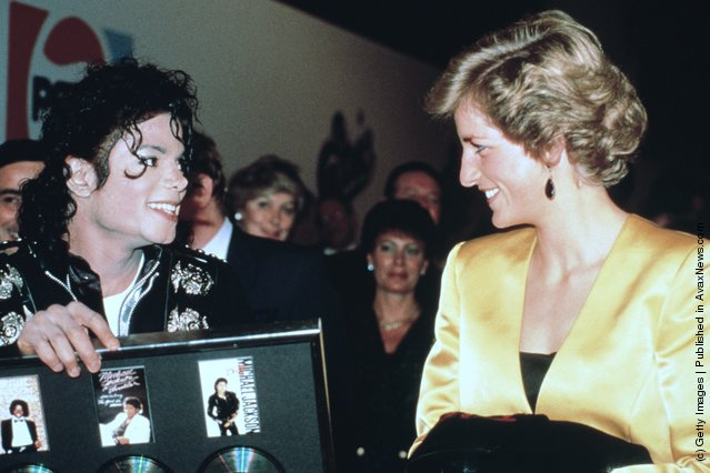 Princess Diana (1961 - 1997) with American pop star Michael Jackson at his concert for the Prince's Trust at Wembley, London, July 1988