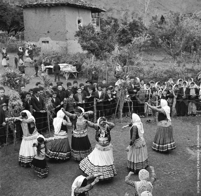 1952:  Village girls dance at a wedding festival in the Mazanderan province of nothern Iran, near the Russian border