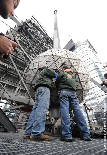 Installation Of 288 New Waterford Crystal Triangles On The 2012 Times Square New Year's Eve Ball