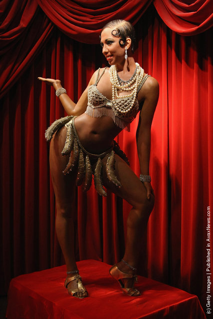 A wax firgure of burlesque dancer Josephine Baker stands on display at Madame Tussauds