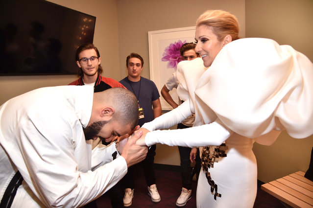 Recording artists Drake (L) and Celine Dion attend the 2017 Billboard Music Awards at T-Mobile Arena on May 21, 2017 in Las Vegas, Nevada. (Photo by Kevin Mazur/BBMA2017/Getty Images for dcp)
