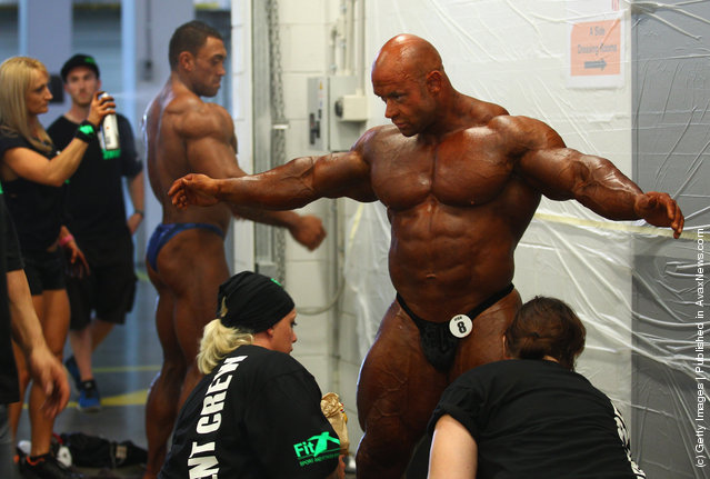 Branch Warren of the USA prepares backstage prior to the pre judging for the 2012 IFBB Australian Pro Grand Prix XII at The Plenary