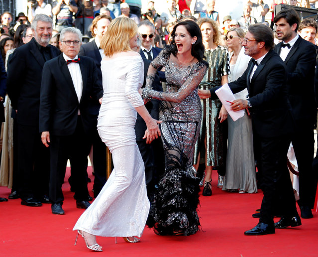 French actress Eva Green (R) and French actress Emmanuelle Seigner (L) leave the screening of the film D'apres Une Histoire Vraie (Based on a True Story) out of competition at the 70th annual Cannes Film Festival in Cannes, France on May 27, 2017. (Photo by Jean-Paul Pelissier/Reuters)
