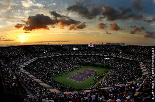 A general view of a match between Rafael Nadal of Spain and Radek Stepanek of The Czech Republic during Day 7 at Crandon Park Tennis Center at the Sony Ericsson Open in Key Biscayne, Florida
