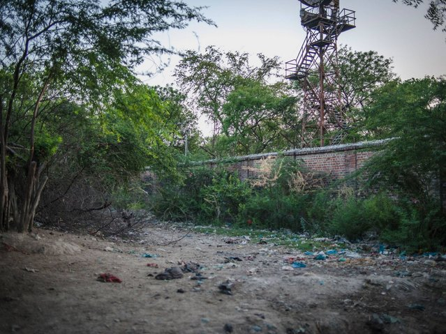 An open defecation area next to the Indian army camp, Nihura Basti, Kanpur. (Photo by Poulomi Basu/WaterAid)