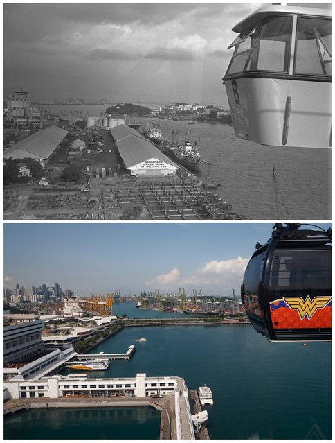 A combination picture shows the view of the port of Singapore and a cable car during the opening of the Mount Faber to Sentosa cable car system (top) in this photo dated February 15, 1974 and the same location May 11, 2015. (Photo by Edgar Su/Reuters/National Archives of Singapore/Ministry of Information and the Arts)