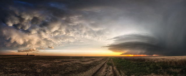 A colorful mammatus cloud display while a storm is spinning round and round north of Leoti, Kansas on May 22, 2016. (Photo by Maximilian Conrad/Caters News)