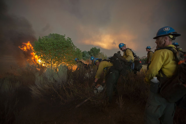 Firefighters of the Texas Canyon Hotshot crew fight the Sand Fire on July 23 2016 near Santa Clarita, California. Fueled by temperatures reaching about 108 degrees fahrenheit, the wildfire began yesterday has grown to 11,000 acres. (Photo by David McNew/AFP Photo)