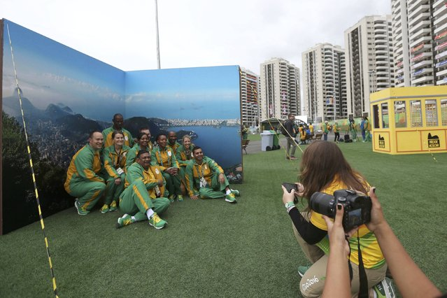 2016 Rio Olympics, Olympic Village on July 29, 2016. Members of South Africa take part in their official welcome ceremony. (Photo by Edgard Garrido/Reuters)