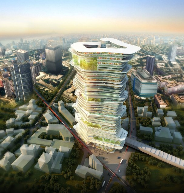 These are the ambitious plans which suggest skyscrapers of the future may house an entire city. The Endless City project is an award-winning proposal by sure Architecture, who propose turning skyscrapers into complete ecosystems. London is the proposed city for the mixed-use tower – which would feature huge ramps linking different sections of the structure. The company, whose design won the SkyScrapers and SuperSkyScrapers Competition, insist the structure would be a great space-saver in dense cities which have previously spread outwards rather than upwards. (Photo by Caters News)