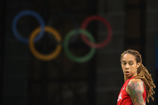 Brittney Griner #15 of United States walks on the court during the women's basketball game against Spain on Day 3 of the Rio 2016 Olympic Games at the Youth Arena on August 8, 2016 in Rio de Janeiro, Brazil. (Photo by Christian Petersen/Getty Images)