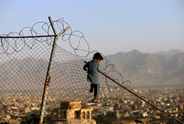 A boy climbs onto a fence while playing in Kabul, Afghanistan September 3, 2015. (Photo by Mohammad Ismail/Reuters)