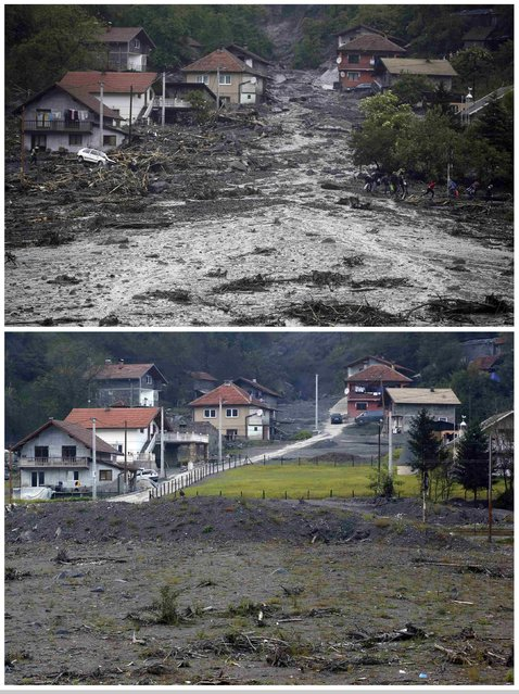A combination photo shows people carrying their belongings as they evacuate from their flooded house during floods May 16, 2014 (top) and the same place after floods October 8, 2014 in Topcic Polje. Bosnia's 3.3 million voters will choose a new political elite across six layers of government on October 12, 2014, in an election that, had it happened a few months ago, might have been a catalyst for change. (Photo by Dado Ruvic/Reuters)