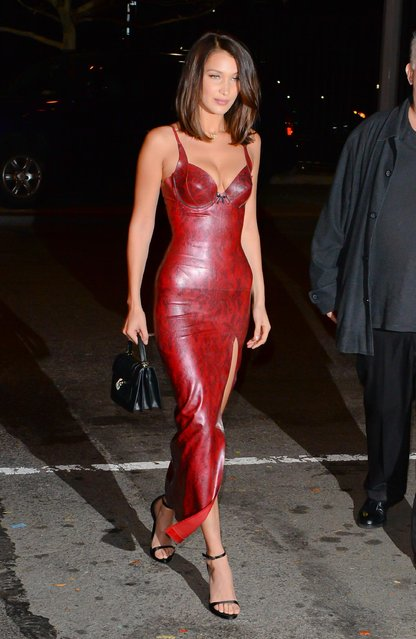 Model Bella Hadid arrives at Victoria's Secret Show viewing on November 28, 2017 in New York City. (Photo by Raymond Hall/GC Images)
