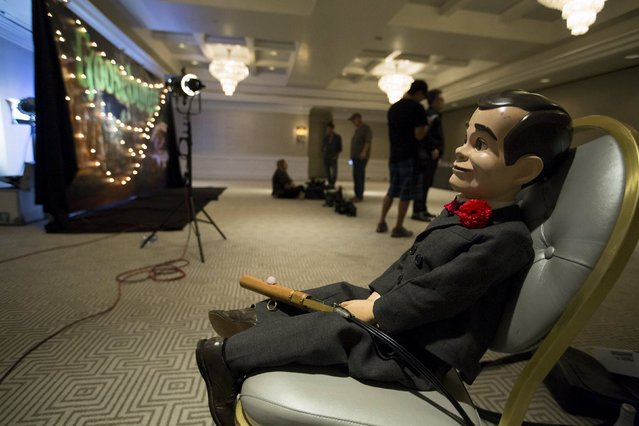 """Slappy the Dummy is pictured on a chair prior to a photo call for """"Goosebumps"""" in West Hollywood, California October 2, 2015. The movie opens in the U.S. on October 16. (Photo by Mario Anzuoni/Reuters)"""