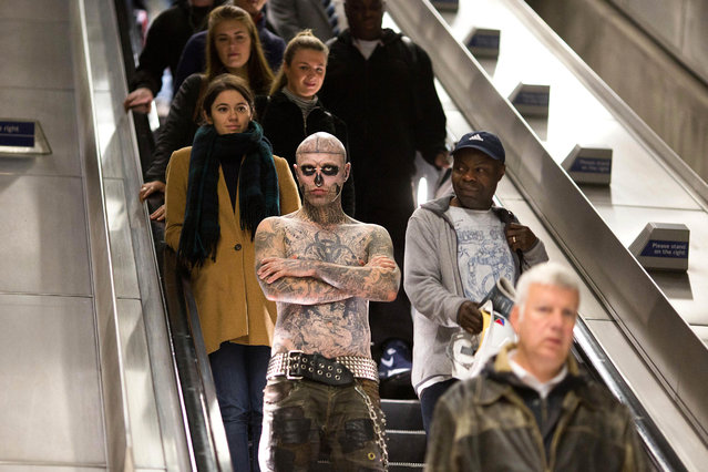 Rick Genest, also known as Zombie Boy, in Canary Wharf to celebrate the launch of Platform 15, a new live action maze at Thorpe Park Resort in London, England on October 5, 2016. (Photo by David Parry/PA Wire)