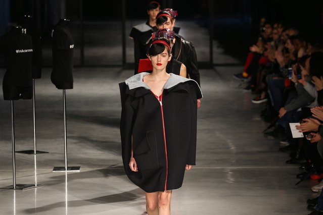 Models present creations by Spanish designer duo Joao Branco and Luis Sanchez for their label Storytailors during the Portugal Fashion show in Lisbon, Portugal, 17 March 2018. The fashion event runs on 17 March in Lisbon and from 22 to 24 March in Porto. (Photo by Jose Sena Goulao/EPA/EFE)