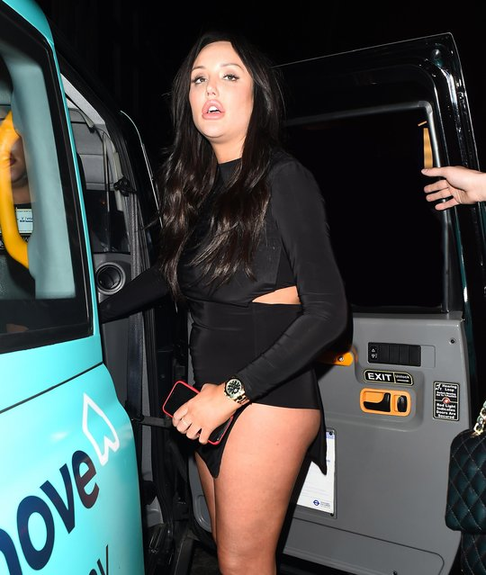 Charlotte Crosby leaving Lucky Voice karaoke club on March 28, 2018 in London, England. (Photo by Splash News and Pictures)