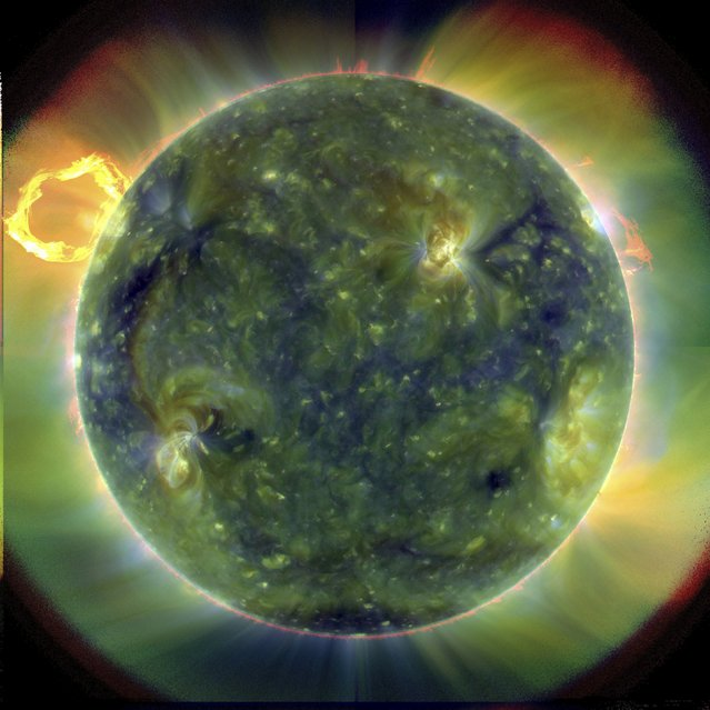 A extreme ultraviolet image, using false colours to trace different gas temperatures, of the sun taken by the Solar Dynamics Observatory (SDO) in this March 30, 2010 file photo. (Photo by Reuters/NASA)