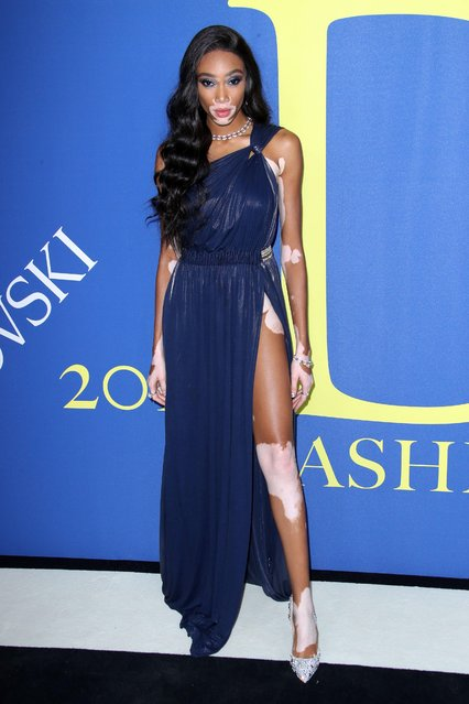 Winnie Harlow attends the 2018 CFDA Fashion Awards at Brooklyn Museum on June 4, 2018 in New York City. (Photo by Matt Baron/Rex Features/Shutterstock)
