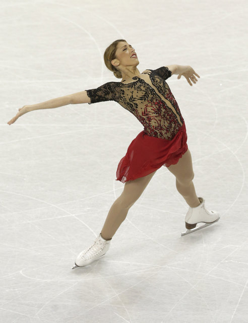 Samantha Cesario performs during the women's free skate program at the U.S. Figure Skating Championships in Greensboro, N.C., Saturday, January 24, 2015. (Photo by Chuck Burton/AP Photo)