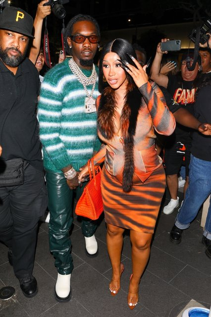 American rapper Cardi B and Offset seen arriving to BOA Steakhouse in Los Angeles after the pair announced they are expecting their second child together on June 27, 2021. (Photo by Backgrid USA)
