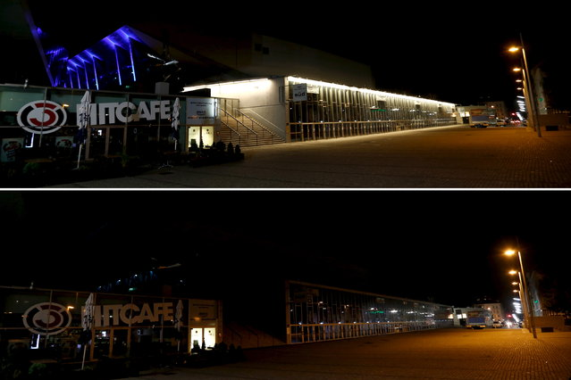 A combination picture shows the Stadthalle, where the Eurovision Song Contest will be held in May, before and during the Earth Hour in Vienna March 28, 2015. (Photo by Leonhard Foeger/Reuters)