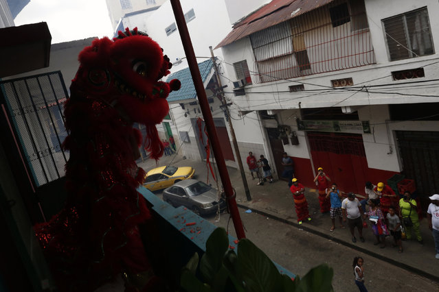 Dancers perform a lion dance on a balcony of the Yan Wo temple as locals look on during celebrations of the Chinese Lunar New Year of the Monkey in Chinatown in Panama City, Panama, February 8, 2016. (Photo by Carlos Jasso/Reuters)