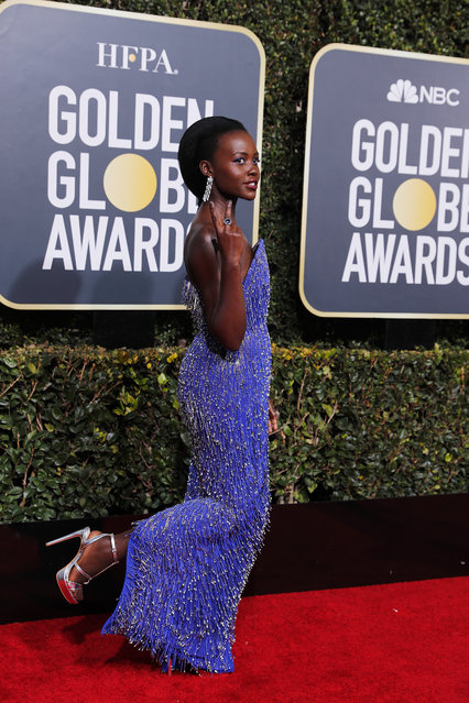 Lupita Nyong'o arrives at the 76th annual Golden Globe Awards at the Beverly Hilton Hotel on Sunday, January 6, 2019, in Beverly Hills, Calif. (Photo by Mike Blake/Reuters)