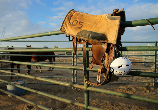 An inmate's saddle and helmet sit on a fence inside Florence State Prison at the Wild Horse Inmate Program (WHIP) in Florence, Arizona, U.S., December 2, 2016. (Photo by Mike Blake/Reuters)