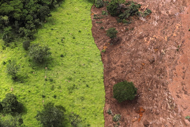 Aerial view over mud and waste from the disaster caused by dam spill in Brumadinho, Minas Gerais, Brazil, 26 January 2019. At least nine people have died and 300 are missing after a tailings dam burst at the Feijao mine in southeastern Brazil owned by Vale, the world's largest iron-ore producer, the Minas Gerais state government said. The dam in Brumadinho near Belo Horizonte broke on 25 January at around mid-day, unleashing a river of sludge that destroyed some nearby houses. (Photo by Antonio Lacerda/EPA/EFE)