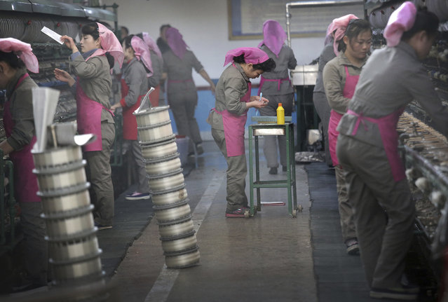 In this Friday, January 6, 2017, photo, North Korean women sort out silkworm cocoons to be boiled at the Kim Jong Suk Silk Mill in Pyongyang, North Korea. (Photo by Wong Maye-E/AP Photo)