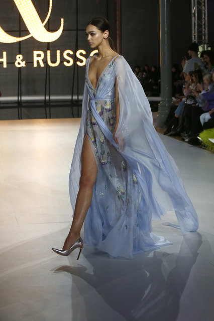 A model wears a creation for the Ralph & Russo Spring/Summer 2019 Haute Couture fashion collection presented in Paris, Monday January 21, 2019. (Photo by Michel Euler/AP Photo)