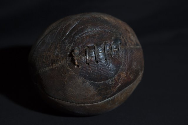 An original 1850 puntabout rugby football is displayed at Rugby School in central England, March 18, 2015. (Photo by Neil Hall/Reuters)