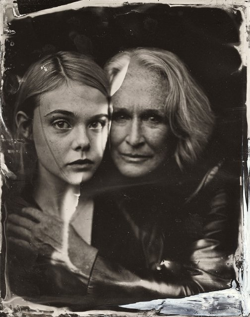 Elle Fanning and Glenn Close pose for a tintype (wet collodion) portrait at The Collective and Gibson Lounge Powered by CEG, during the 2014 Sundance Film Festival in Park City, Utah. (Photo by Victoria Will/AP Photo/Invision)