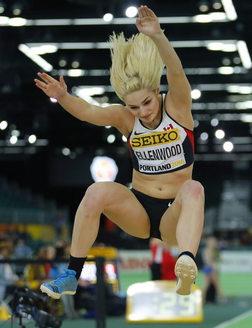 Georgia Ellenwood of Canada competes in the long jump portion of the women's pentathlon during the IAAF World Indoor Athletics Championships in Portland, Oregon March 18, 2016. (Photo by Mike Blake/Reuters)