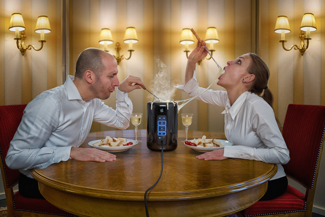 """Celebrating the new Mac Pro with Apple iFondue"". (John Wilhelm)"