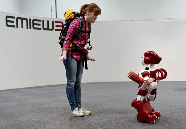 "The ""EMIEW3"" robot (R) demonstrates communicating with a visitor during a press preview in Tokyo on April 8, 2016. Japanese electronics giant Hitachi unveiled its humanoid customer service and guidance robot ""EMIEW3"" and ""remote brain"" robotics IT platform. (Photo by Toshifumi Kitamura/AFP Photo)"