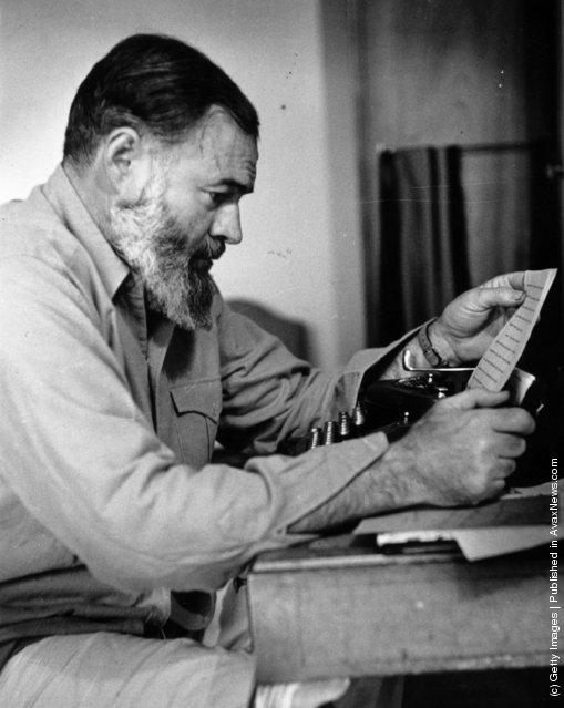 US novelist, short-story writer and war correspondent Ernest Hemingway, 1944