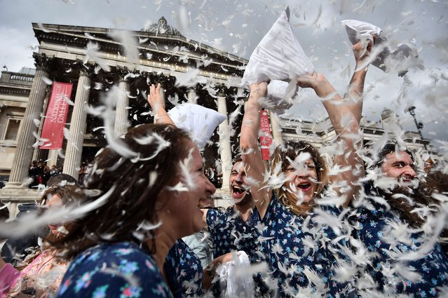 Revellers take part in a mass pillow fight in Trafalgar Square in central London on April 5, 2014 on International Pillow Fight Day. (Photo by Ben Stansall/AFP Photo)