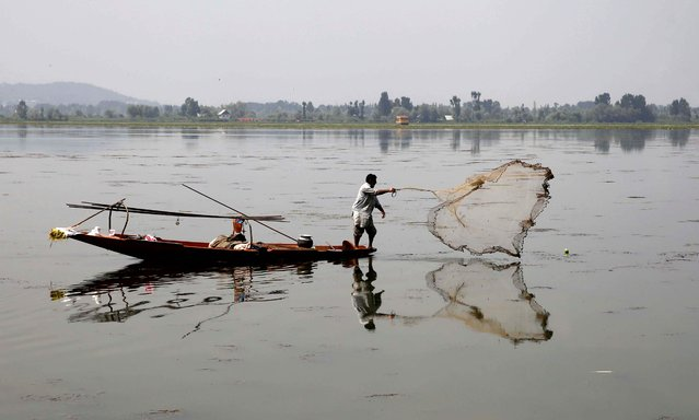 A Kashmiri boat man throws his net to catch fish from waters of Dal Lake in Srinagar, India, 27 August 2019. Tensions are renewed in the region as the Indian government on 05 August moved a resolution in the parliament that removes the special constitutional status granted to the Kashmir region. Kashmir has been a matter of dispute since 1947 when India and Pakistan won their freedom from British rule as both countries claim Kashmir in full, but administer separate portions of the region. (Photo by Farooq Khan/EPA/EFE)