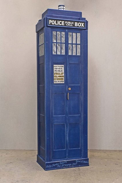 A coffin in the shape of Doctor Who's Tardis. (Photo by Caters News Agency)