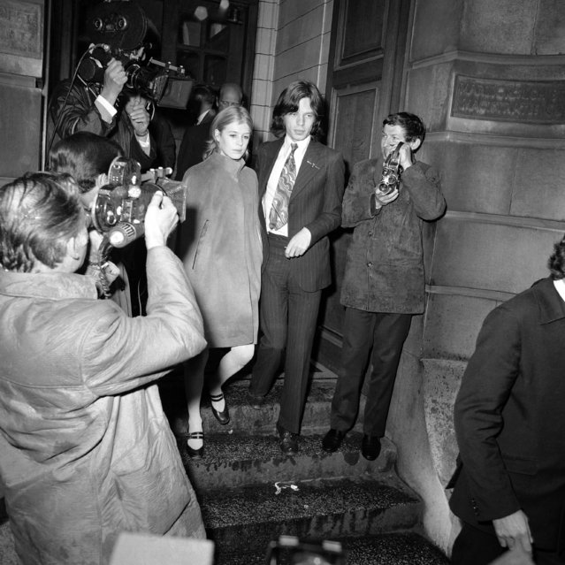 Lead singer of the Rolling Stones pop-group, Mick Jagger, 25, and friend, actress Marianne Faithfull, 22, in London, England on June 23, 1966. The couple appeared at Marlborough St. Court charged with possessing the drug Cannabis. They were on remand from May 29 on £50 bail each. The case was adjourned until September to allow the couple to fulfill film commitments in Australia. (Photo by AP Photo/Worth)