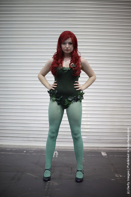 A visitor to the London Super Comic Convention dresses as Poison Ivy at ExCel