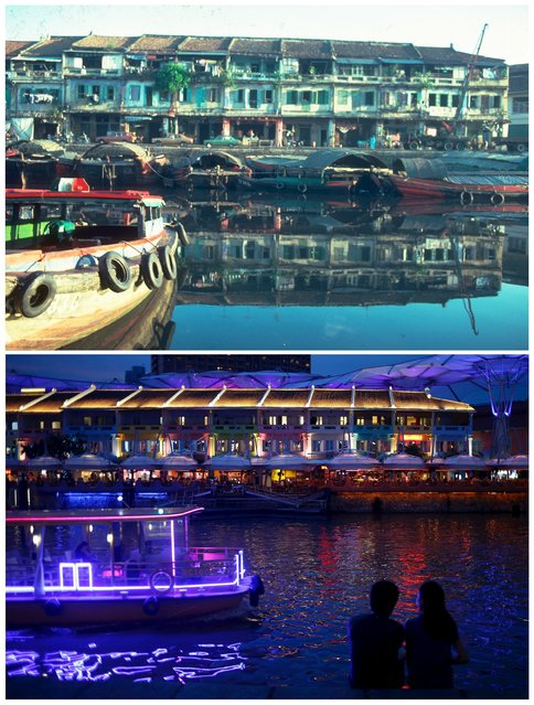 Small boats know as bumboats dock outside shophouses along Clarke Quay in this photo taken in 1980 (top) and the same location May 6, 2015. (Photo by Edgar Su/Reuters/National Archives of Singapore/Ministry of Information and the Arts)
