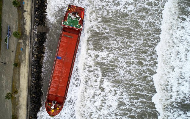 A drone photo shows a cargo ship, anchored offshore in Hatay's Dortyol district, after it grounded due to heavy storm in Hatay, Turkey on January 31, 2020. (Photo by Eren Bozkurt/Anadolu Agency via Getty Images)