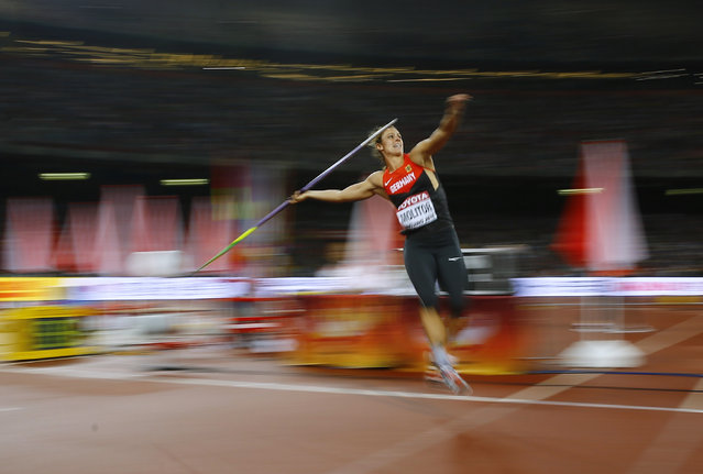 Kathrina Molitor of Germany competes in the women's javelin throw final during the 15th IAAF World Championships at the National Stadium in Beijing, China August 30, 2015. (Photo by Kai Pfaffenbach/Reuters)