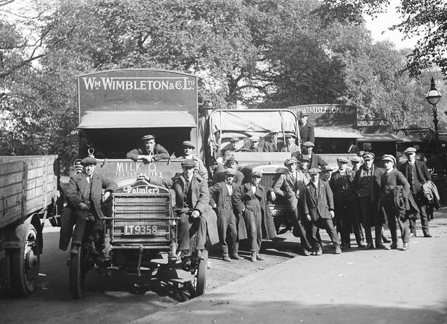 Daimler and Leyland lorries which are being used for deliveries during the railway strike. 3rd October 1919. (Photo by A. R. Coster)