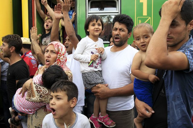 Migrants protest at the railway station in the town of Bicske, Hungary, September 3, 2015. Migrants threw themselves onto railway lines and scuffled with helmeted riot police trying to take them to a reception center in Hungary on Thursday, forced from a train in desperate scenes symbolic of a European asylum system brought to breaking point. (Photo by Bernadett Szabo/Reuters)