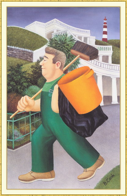Gardener on the Hoe. Artwork by Beryl Cook